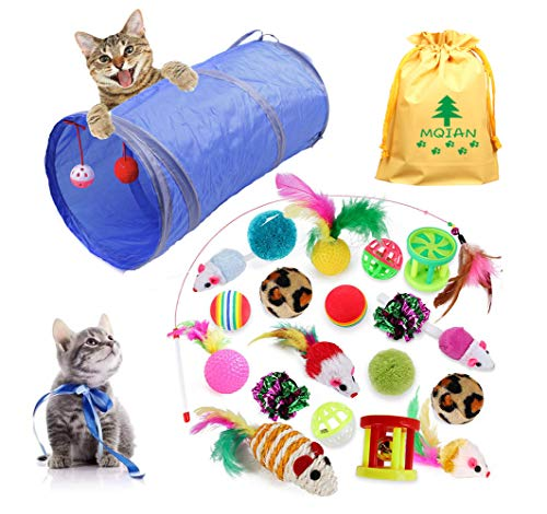 MQIAN 21PCS Juguetes para Paquete de Variedad para Gatitos, Set di Juguetes para Gatos Interactivo Ratón,Juguetes para Gatos con Plumas túnel 🔥