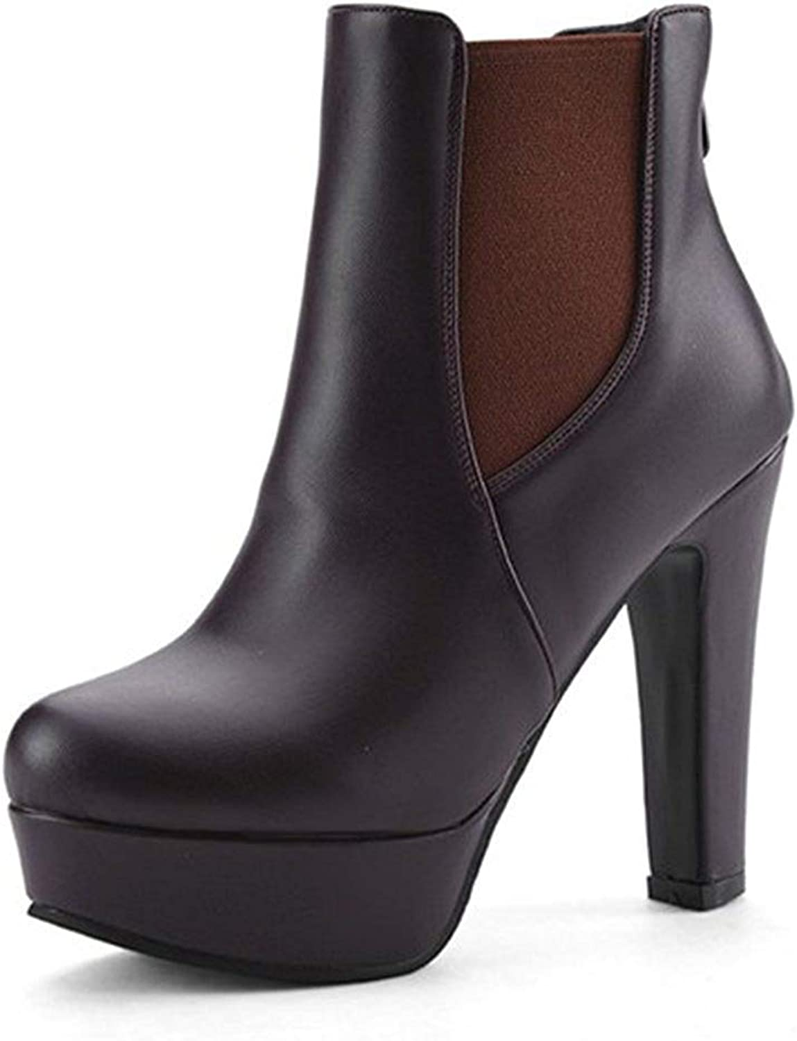 Unm Women's Fashion Round Toe Back Zipper Platform Chunky High Heels Booties Dress Ankle Boots shoes