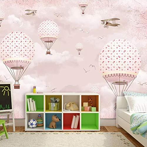 Kinderkamer Wallpaper_Cartoon hete lucht Ballon Roze Meisje Hart Meisje Slaapkamer Prinses Poeder Achtergrond Muur Schilderen Behang Grijs Muursticker Border Zelfklevende Baksteen Badkamer s (W)400cm×(h)280cm