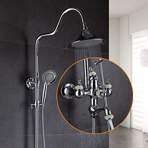 FYYONG Latón Cromo grifo de la bañera cabezal de ducha de lluvia de la computadora de mano con barra deslizante baño de mezclador del grifo de latón conjunto Cromo grifo de la bañera cabezal de ducha