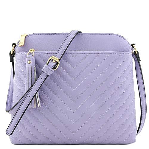 Chevron Quilted Medium Crossbody Bag with Tassel Accent (Lavender)