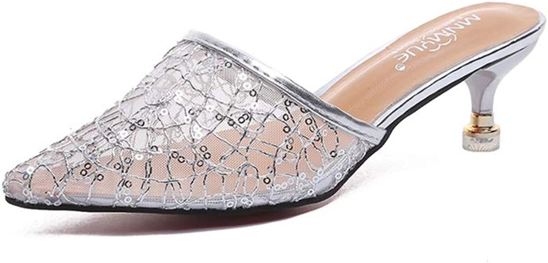 WANGFANG Sandals Women's Pointed Slippers, Summer Fashion Hollow Baotou Slippers Kitten Heel Slippers Half Slipper (color   Silver, Size   US7 EU38 UK5 MX4.5 CN38)