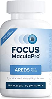 Focus MaculaPro - AREDS Based Eye Vitamin-Mineral Supplement (180 ct. 90 Day Supply) -AREDS Based Vitamins for Non-Smokers...