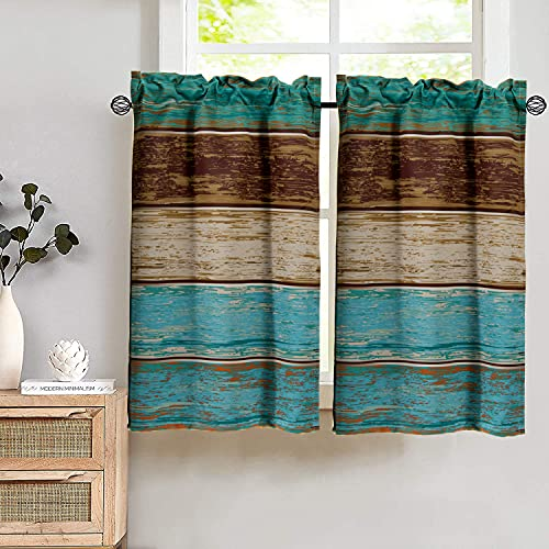 YoKii Rustic Wood Grain Kitchen Curtains 36 Inch, Country Retro Barn Teal Blackout Curtains for Short Windows Vintage Farmhouse Rod Pocket Tier Curtains for Cabin Bathroom (Tiers - 24 x 36, Teal)