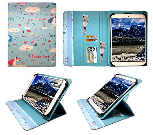 Sweet Tech Acer Iconia One 8 B1-810 / B1-820 / B1-830 8' Inch Unicorn Universal 360 Degree Rotating Wallet Case Cover Folio with Card Slots (7-8 inch)