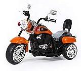 Ricco Kids 3 Wheel Chopper Trike Motorcycle Electric Ride on Motor Bike LED Lights and Music (Matallic ORANGE)
