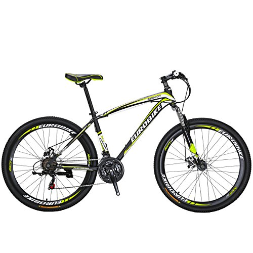 Eurobike Moutain Bike X1 21 Speed MTB 27.5 Inches Wheels Dual Suspension Bicycle (Yellow)