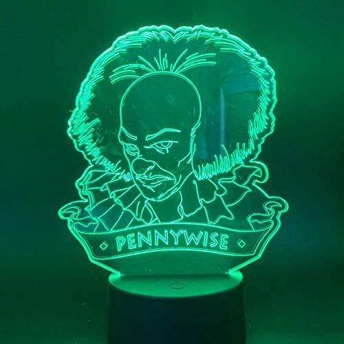 Año nuevo Regalo de Navidad 3d LED Luz nocturna Película Dibujos animados Payaso de dibujos animados Producto Lámpara de mesa de terror USB Lámpara inteligente tridimensional colorida