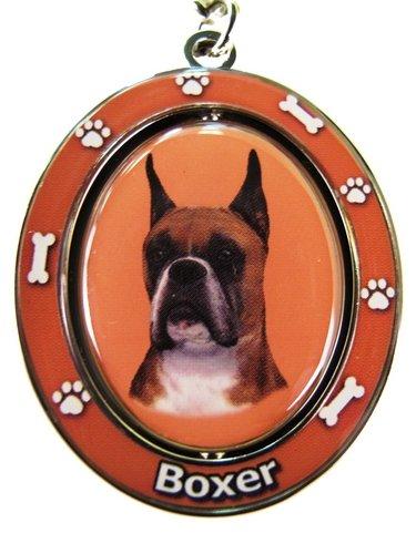 E&S Pets Boxer Schlüsselanhänger Spinning Pet Schlüsselanhänger, doppelseitig, drehbar, mit Boxer-Gesicht, aus schwerem Metall