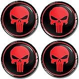 SkinoEu® 4 x 50mm 3D Silicona Adhesivo Pegatinas Stickers Universal Tapas de Rueda de Centro Tapacubos para Coche Auto Tuning Punisher Craneo A 350