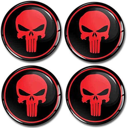 SkinoEu® 4 x 50mm Aufkleber 3D Gel Silikon Autoaufkleber Stickers Punisher Totenkopf Totenschädel Skull Felgenaufkleber Radkappen Nabenkappen Radnabendeckel Rad-Aufkleber Nabendeckel Auto Tuning A 350