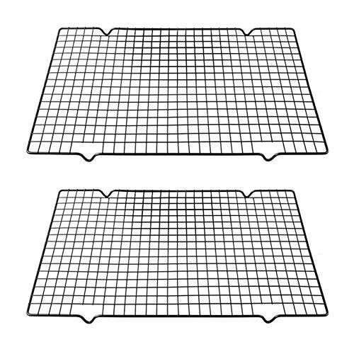 Komake 2 Stück Kuchengitter Abkühlgitter, Backgitter aus Edelstahl Kuchen Kühlregal Auskühlgitter Küchengitter für Gleichmäßiges und Schnelles Auskühlen Keksen und Kuchen Auskühlen (25 x 40.5 x 2cm)