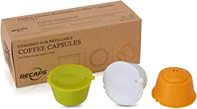 RECAPS BPA Free Refillable Reusable Coffee Capsules Pods Compatible with Nescafe Dolce Gusto Brewers 3 Pack (Yellow Green White)