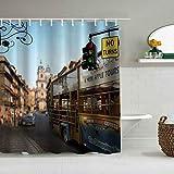 Duschvorhang Bus Straße Vintage Verkehr Transpot Indicatort Personalisierte Dekor Badezimmer Vorhang 180x180
