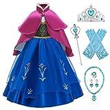 O.AMBW Anna Frozen Vestido de Princesa con Capa para niñas Disfraces y Accesorios Conjunto Completo Cosplay Princesa Vestido de Fiesta Halloween Carnaval Disfraz Anna y Elsa Cumpleaños Navidad