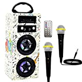 IndeCool Kids Bluetooth Karaoke Machine with 2 Microphones, Rechargeable Remote Control Wireless Speaker