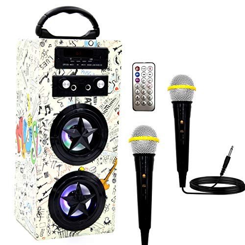 Kids Bluetooth Karaoke Machine with 2 Microphones, Wireless Rechargeable Remote Control Portable Karaoke Music MP3 Player Loudspeaker with Microphones for Kids Adults Home Party (Doodle Pattern)