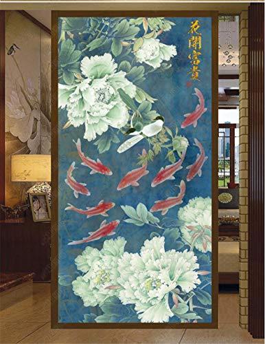Adesivo per Porte Pesce Cinese Peonia Porte Murali Autoadesivo Autoadesivo Bastone Murale della Porta di 3D