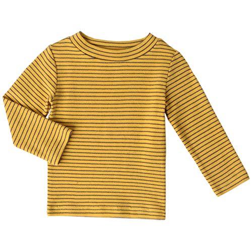Little Boys Girls Long Sleeve Tee Kids Cotton T-Shirt Crew Neck Tops,(Yellow,7T)