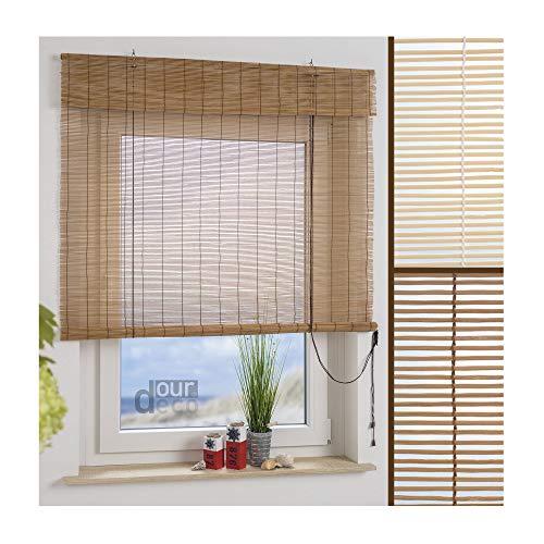 ourdeco® bamboe rolgordijn / 60 x 160 cm (breedte x hoogte) natuur/lichtdoorlatend/klemmen en montage zonder boren/plafond- en wandmontage geboord/Smartfix = Klemmfix = Easy-to-fix