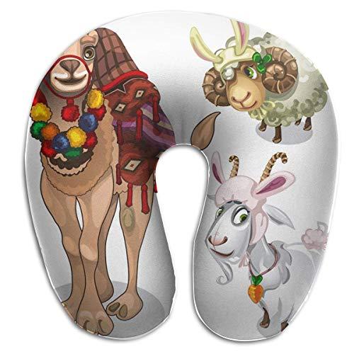 LXJ-CQ Almohada para el Cuello, Camello, Oveja y Cabra en Estilo Infantil, Disfraz en Forma de U, Almohada de Viaje, diseño ergonómico Contorneado, Funda Lavable