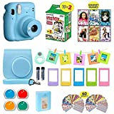 Fujifilm Instax Mini 11 Instant Camera Sky Blue + Shutter Compatible Carrying Case + Fuji Film Value Pack (20 Sheets) + Shutter Accessories Bundle, Color Filters, Photo Album, Assorted Frames