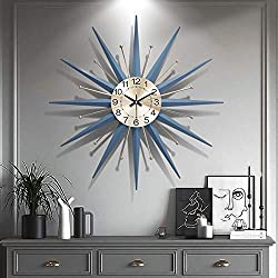 XUEXIONGSP 21 Century Metal Wall Clock, Large Starburst Sunburst Decoration for Home Kitchen Living Room Office (28),28in