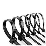 Bridas negras para cables, paquete de 100 unidades, 300 x 3,6 mm, para uso en interiores y exteriores, resistentes con resistencia a la tracción de 40 libras
