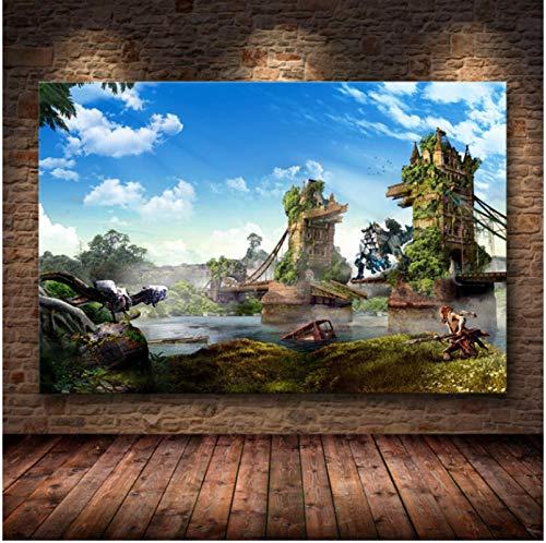 RCANLGZ Póster del Juego Horizon Zero Dawn, Carteles E Impresiones, Arte De Pared, Cuadro Decorativo, Lienzo, Pintura para Sala De Estar, Decoración del Hogar, 40X50 Cm