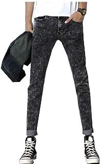 Nicellyer メンズスリムフィットリラックスフィットファッションは、単純な正規フィットジーンズを洗った
