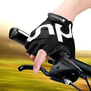 KONVINIT Guantes de Ciclismo Medio Dedo Unisex Guantes de Bicicleta sin Dedos con Relleno Antideslizante para MTB, Ciclismo de Carretera, Gimnasio, Crossfit y Levantamiento de Pesas L