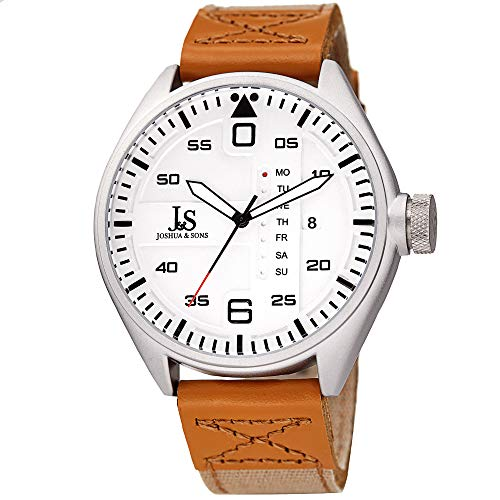 Joshua & Son's Designer Men's Watch – Brown Canvas Over Genuine Leather Strap with Contrast Stitching, Date and Special Day Display, Silver Dial – JX145SS
