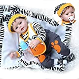 NOSSON Rebirth Doll, Juguetes para niños Reborn 22inch Tiger Dress Set Reborn Baby Boy Doll Realista Silicona Suave Fexible Real Touch Adorable Baby Weighted