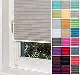 Home-Vision® Premium Plissee Faltrollo ohne Bohren mit Klemmträger / -fix (Grau, B130cm x H150cm) Blickdicht Sonnenschutz Jalousie für Fenster & Tür
