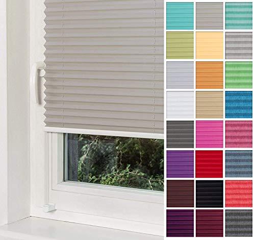 Home-Vision® Premium Plissee Faltrollo ohne Bohren mit Klemmträger / -fix (Grau, B60cm x H120cm) Blickdicht Sonnenschutz Jalousie für Fenster & Tür
