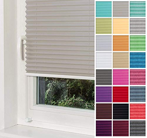 Home-Vision® Premium Plissee Faltrollo ohne Bohren mit Klemmträger / -fix (Grau, B35cm x H100cm) Blickdicht Sonnenschutz Jalousie für Fenster & Tür