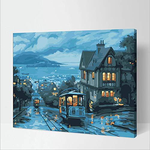 Thfff autobus nachtlampje, digitaal, olieverfschilderij, om zelf te maken, creatieve decoratie 6527 bus nacht Senza Cornice 40x50cm
