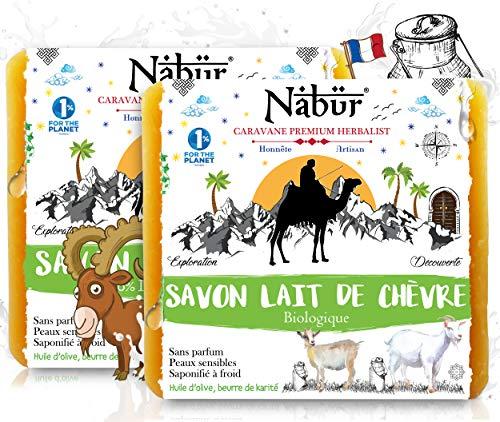 Nabür - 2 Savons au Lait de Chèvre Frais Bio (2x100gr) | 2-en-1 | Fabriqué en France | Peaux Sensible type eczémas, psoriasis ou acné, tâches