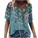 Dosoop Women's Casual Loose Short Sleeve T-Shirt Colorful Retro Scenic Flowers Print V Neck Plus Size Tops Tunic Blouse