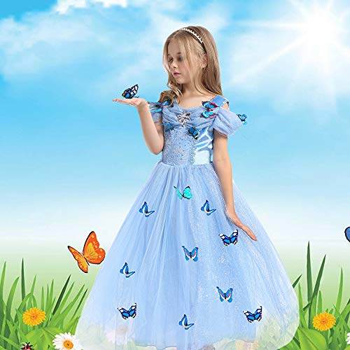 URAQT Vestido de Cenicienta, Disfraz de Princesa Cenicienta con Mariposa, Vestido de Princesa para Nñas, Elegante Vestido de Tul para Boda, Fiesta, para 3-8 años