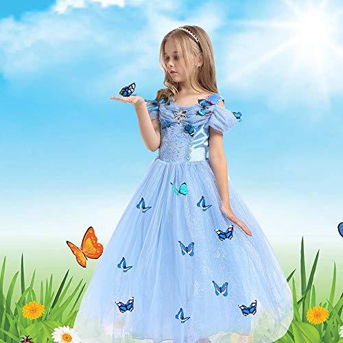 URAQT Vestido de Cenicienta, Disfraz de Princesa Cenicienta con Mariposa, Vestido de Princesa para Nas, Elegante Vestido de Tul para Boda, Fiesta, para 3-8 aos