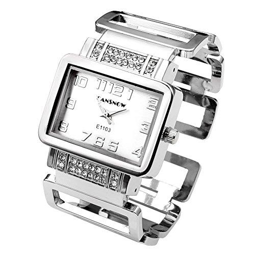 JSDDE Uhren Fashion Quadrat Strass Damen Spangenuhr Edelstahl Armbanduhr Hollow Band Analog Quarzuhr(Silber-Weiss)
