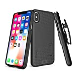 WixGear iPhone X/XS Holster Case, Slim Shell Holster Combo Case for Apple iPhone X/XS/iPhone 10 with Stand and Swivel Belt Clip - Black
