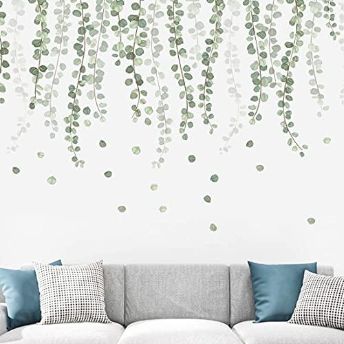 YXHZVON Adhesivo de Pared de Hoja Verde, 55 x 100 cm, Adhesivo de Pared de Plantas Tropicales con Hojas de Eucalipto, Mural Artístico Extraíble para Baño, Oficina, Decoración de la Escuela