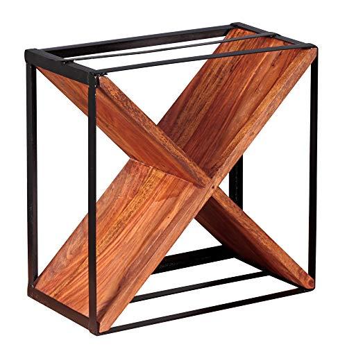 KADIMA DESIGN Moderner Designer Weinregal ALOKA Massiv-Holz Sheesham Flaschenregal/Standregal für ca. 16 Flaschen mit Metallrahmen Holzregal X-Form Natur-Holz im Landhaus-Stil freistehend