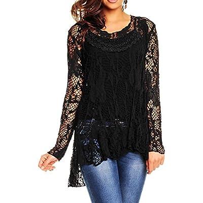 Ladies 2 in 1 italian long sleeve crochet top tunic lace mesh