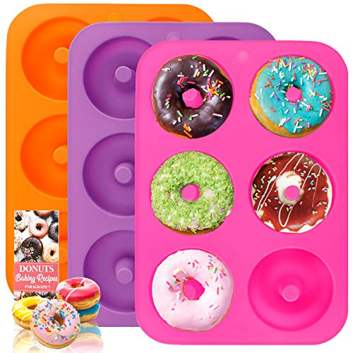 HEHALI 3pcs Non-Stick Silicone Donut Mold, BPA Free Doughnuts Bagel Pan for Baking in Clearance, Tray Measures 10x7 Inches