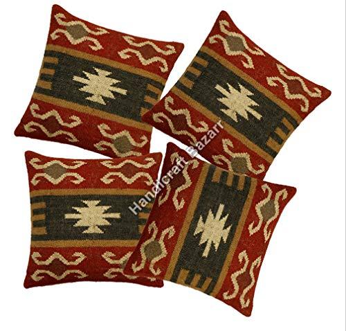 Handicraft Bazarr 4 Pcs Set Traditional Kilim Jute Pillow Cover Home Decor Vintage Wool Jute Cushion Cover Bohemian Throw Lumber Kilim Jute Pillow Cover Body Rest Pillow Case