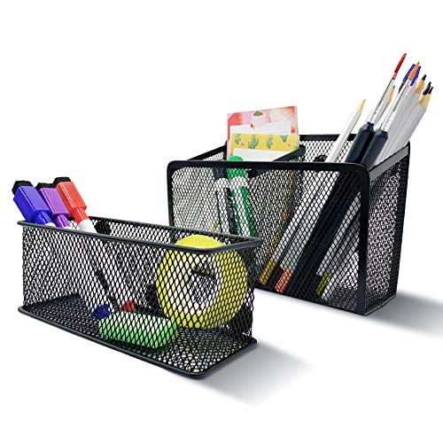 Magnetic Pen Holder, Magnetic Storage Basket Organizer, Strong mesh Metal Pencil Holder to Hold whiteboard, Fridge, Refrigerator and Locker Accessories
