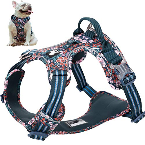La La Pet No Pull Dog Harness with Front Clip, Reflective Dog Vest Harness with Handle Floral Neoprene Padded Dog Vest for Puppy Small Medium Large Dogs 3 Snap Buckles Easy to Put on & Take Off